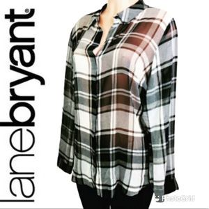 Lane Bryant sheer top button down 18/20 Polyester